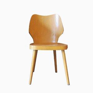 Chaise avec Pieds Évasés et Dossier Incurvé en Contreplaqué, Scandinavie, 1950s
