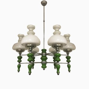 Italian Opaline Glass Chandelier, 1950s