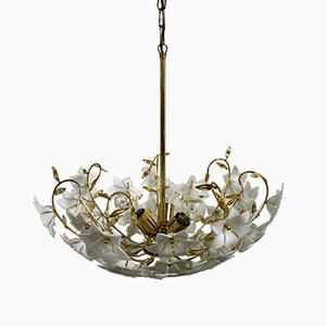 Brass Murano Glass Flower Chandelier, 1970s
