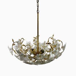 Lámpara de araña con flores de cristal de Murano y latón, años 70