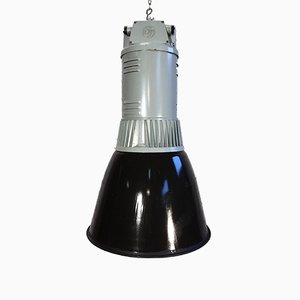 Black Enamel Industrial Pendant Lamp from Elektrosvit, 1960s