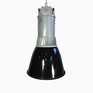 Lámpara colgante industrial esmaltada en negro de Elektrosvit, años 60