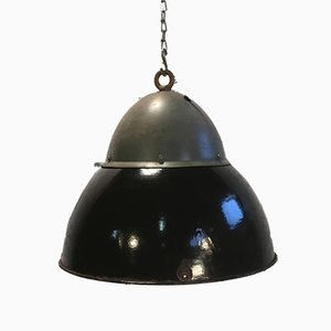 Vintage Black Enameled Hanging Lamp