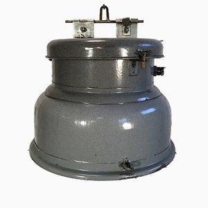 Lámpara industrial vintage esmaltada en gris