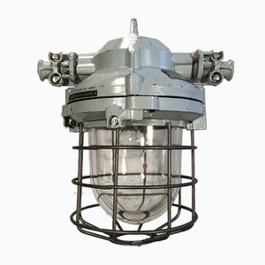 Industrial Bunker Ceiling Light with Iron Cage, 1960s