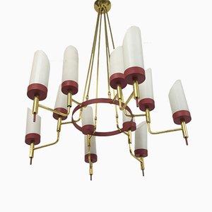Lámpara de araña italiana de latón y vidrio blanco, años 50