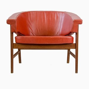 Teak & Red Leather Lounge Chair, 1960s