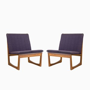Teak Model 522 Easy Chairs by Hans Olsen for Juul Kristiansen, 1950s, Set of 2