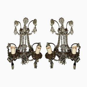 Italienische Vintage Wandleuchten mit Perlen aus Kristallglas, 2er Set