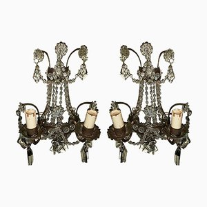 Vintage Italian Crystal-Beaded Sconces, Set of 2