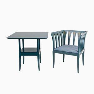 Table Suite Bleu & Chaise Cranbrook par Eliel Saarinen for Adelta, 1980s
