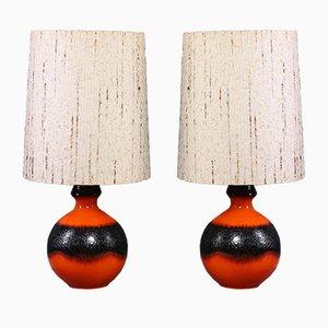 Deutsche Stehlampen mit Fat Lava Sockel, 1960er, 2er Set
