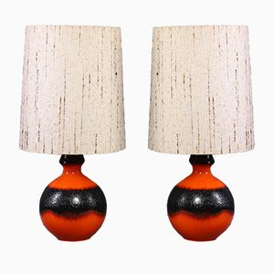 German Floor Lamps with Fat Lava Base, 1960s, Set of 2