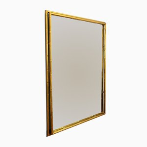 Italian Brass Wall Mirror in Faux Bamboo, 1970s