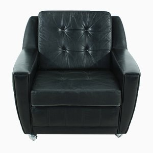 Black Leather Lounge Chair, 1960s