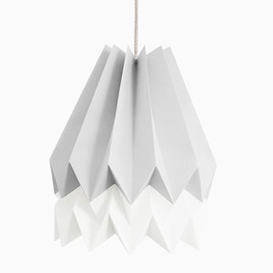 PLUS Light Grey Origami Lamp with Polar White Stripe by Orikomi