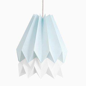 Lampe Origami PLUS Bleu Menthe avec Bande Blanc Polair par Orikomi