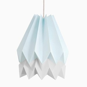 PLUS Mint Blue Origami Lamp with Light Grey Stripe by Orikomi