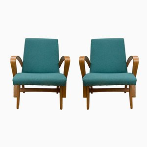 Turquoise Czech Armchairs, 1960s, Set of 2