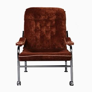 Chromed Lounge Chair with Brown Fabric, 1970s