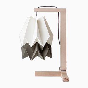 Polar White Table Lamp with Alpine Grey Stripe by Orikomi