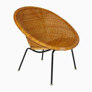 Italienischer Mid-Century Stuhl aus gewebtem Rattan, 1950er