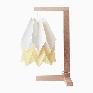Tischlampe in Polar White mit Streifen in Pale Yellow von Orikomi