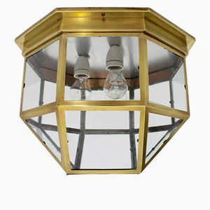 Art Nouveau Brass Flush Mount