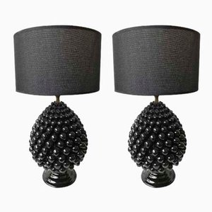 Italian Pine & Ceramic Lamps from Firlaro, 1980s, Set of 2