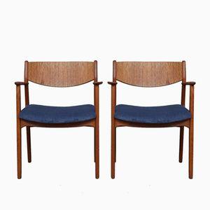 Vintage Danish Teak Armchairs with Corduroy Seats, 1960s, Set of 2