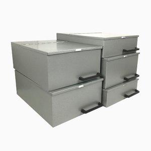 Vintage Industrial Metal Boxes, 1970s, Set of 5