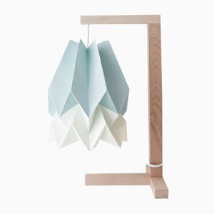 Mint Blue Table Lamp with Polar White Stripe by Orikomi
