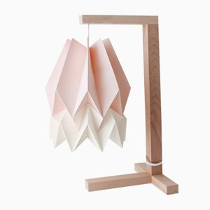 Pastel Pink Table Lamp with Polar White Stripe by Orikomi