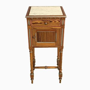 Antique Nightstand in Pine & Marble