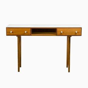 Mesa consola de madera y vidrio blanco, años 60