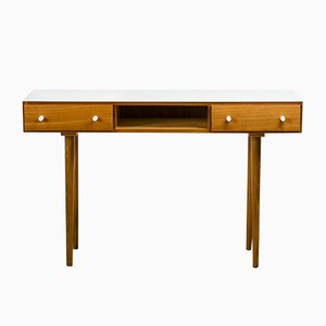 White Glass & Wood Console Table, 1960s