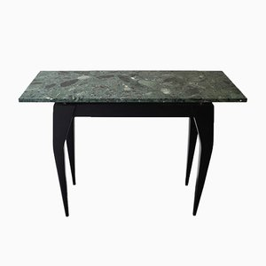 Vintage Italian Ebonized Console Table with Green Marble Top, 1980s