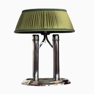 Lámpara de mesa antigua con pantalla verde plegable, década de 1900