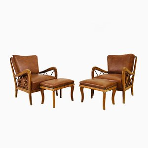 Vintage Italian Lounge Chairs with Ottomans by Paolo Buffa, 1950s, Set of 2