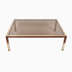 Coffee Table in Smoked Glass and Chrome by Romeo Rega, 1970s