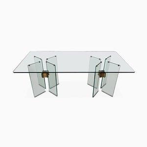 Mesa de comedor vintage de vidrio y latón de Peter Ghyczy