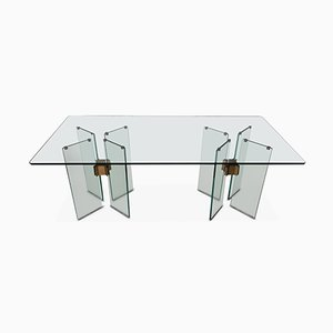Vintage Glass and Brass Dining Table by Peter Ghyczy