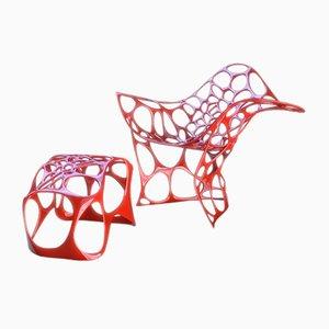 Chaise et Repose-pieds Betoidea en Aluminium Coulé par Peter Donders