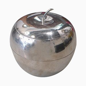 Large Vintage Apple-Shaped Chrome Ice Bucket