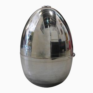 Large Chromed Egg-Shaped Champagne Cooler by Galbiati, 1970s