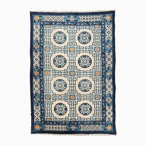 Alfombra china antigua de lana en azul y beige