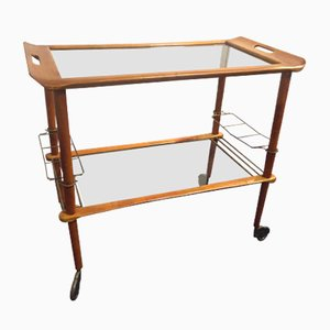 Tea Trolley in Walnut & Brass, 1950s