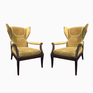 Vintage Bergère Armchairs, Set of 2