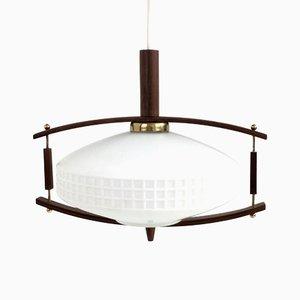 Lampe à Suspension Mid-century en Teck & Verre Opalin