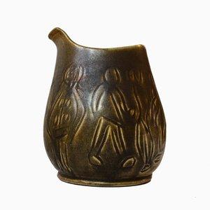 Moderne grün lasierte Steingut Vase von HNB, 1960er
